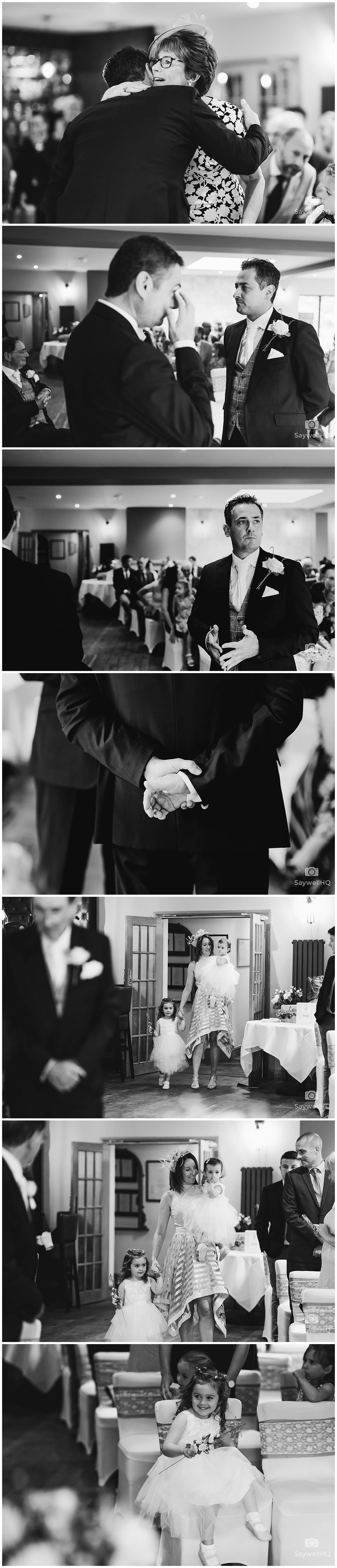 The Chequers Inn Woolsthorpe Wedding Photography - bride and her father enter the room for the wedding ceremony