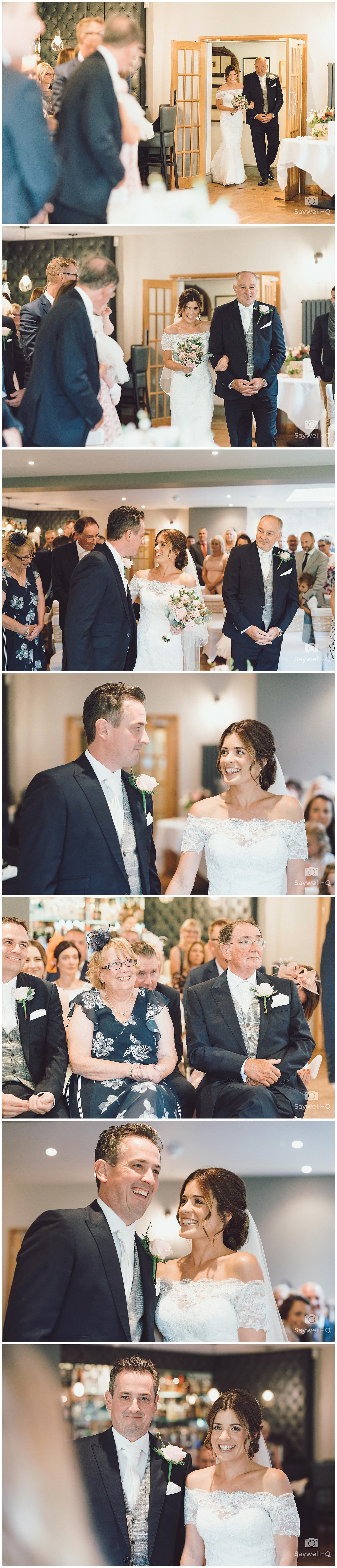 The Chequers Inn Woolsthorpe Wedding Photography - bride and groom exchange rings during the wedding ceremony