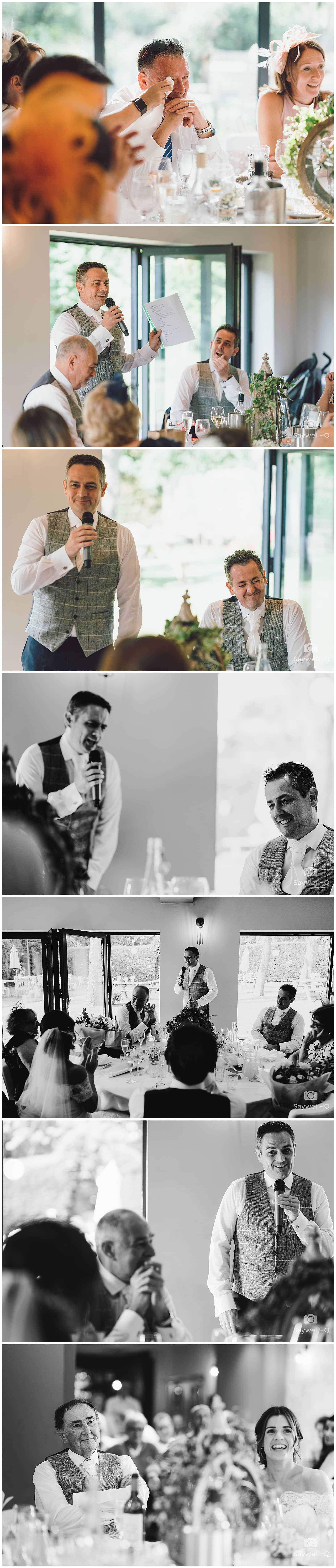 The Chequers Inn Woolsthorpe Wedding Photography - wedding speech reactions and early evening guest arrivals