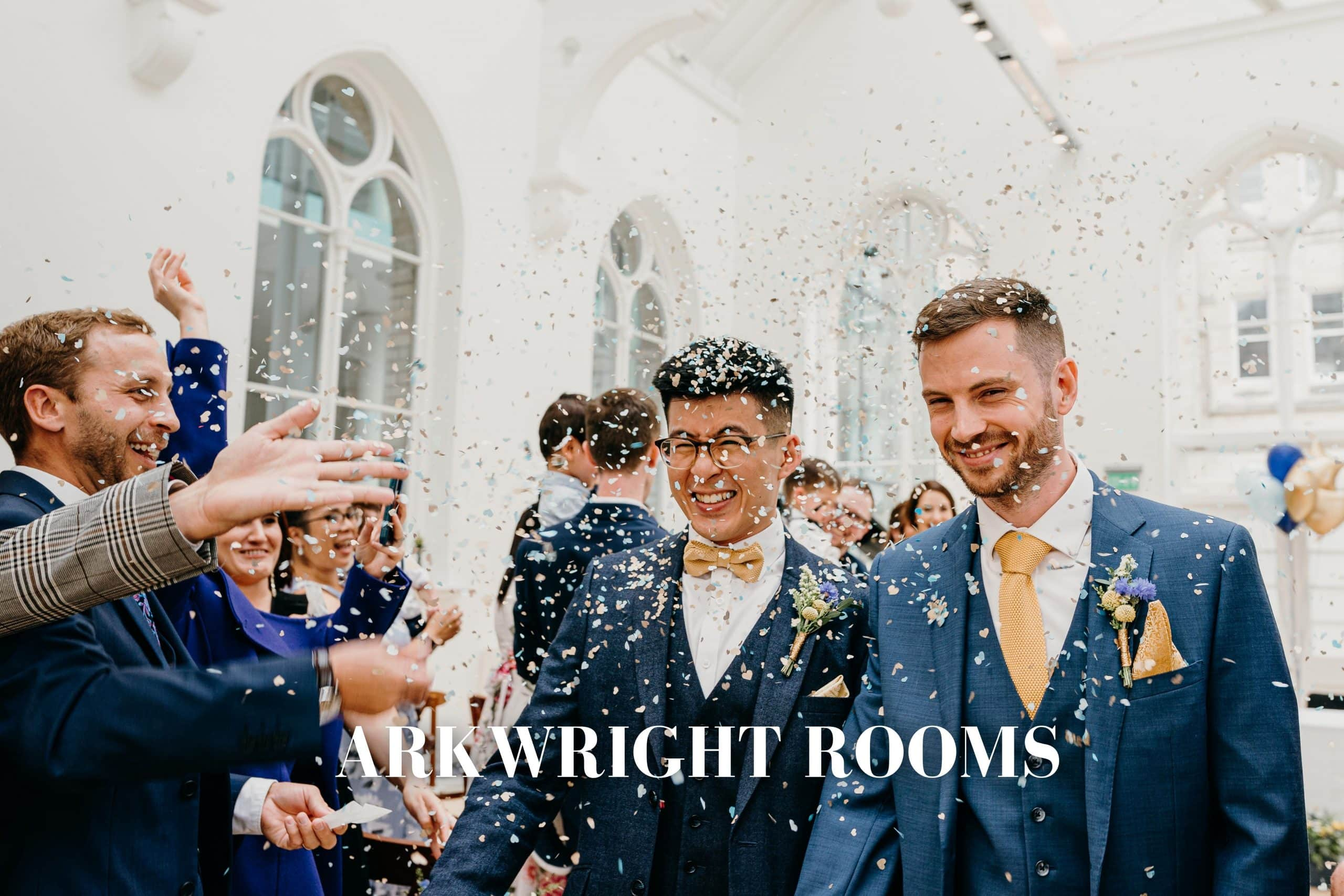 Same sex wedding photography - couple walking down the aisle through confetti