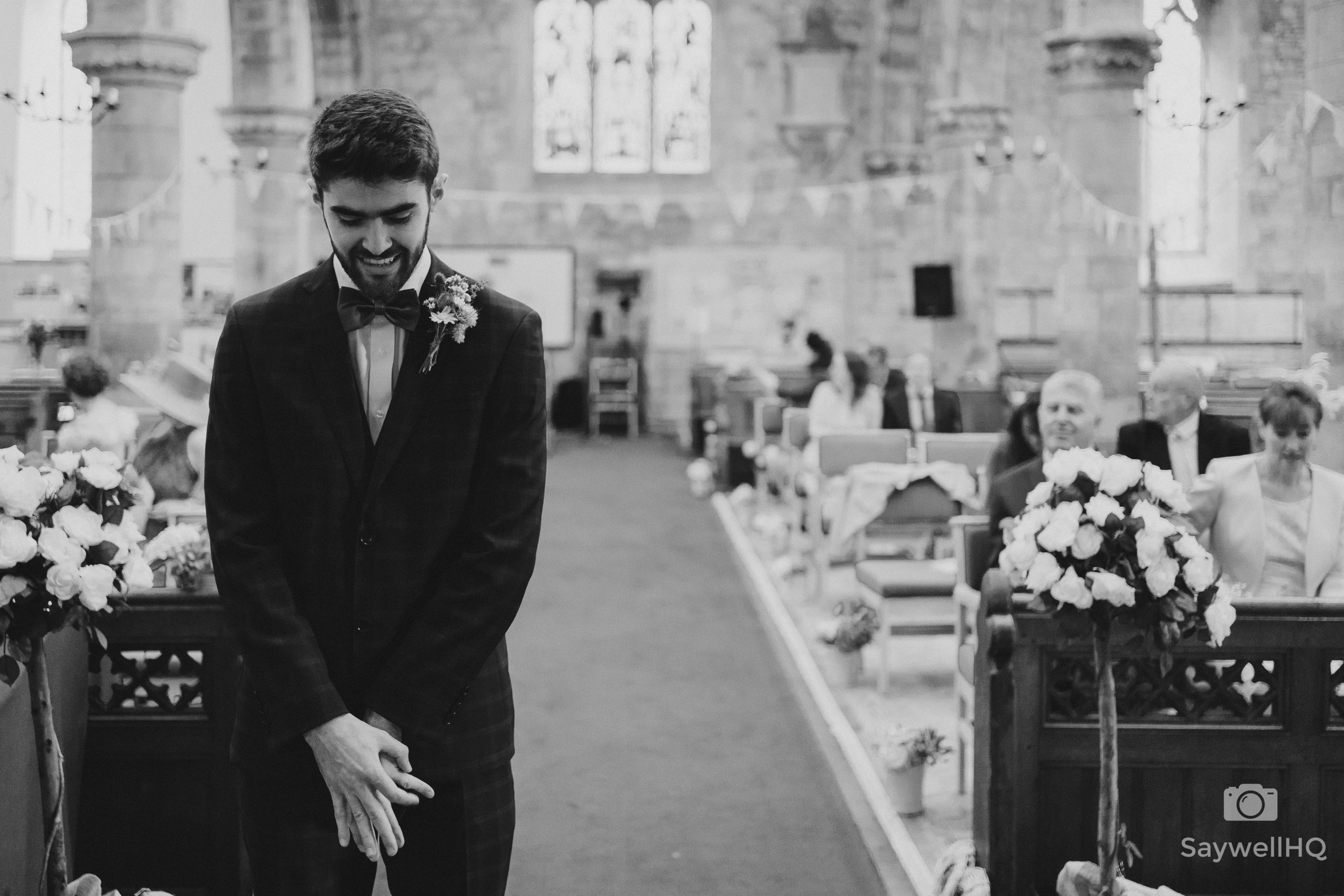 groom looking nervous at a Covid wedding in Bromyard Herefordshire