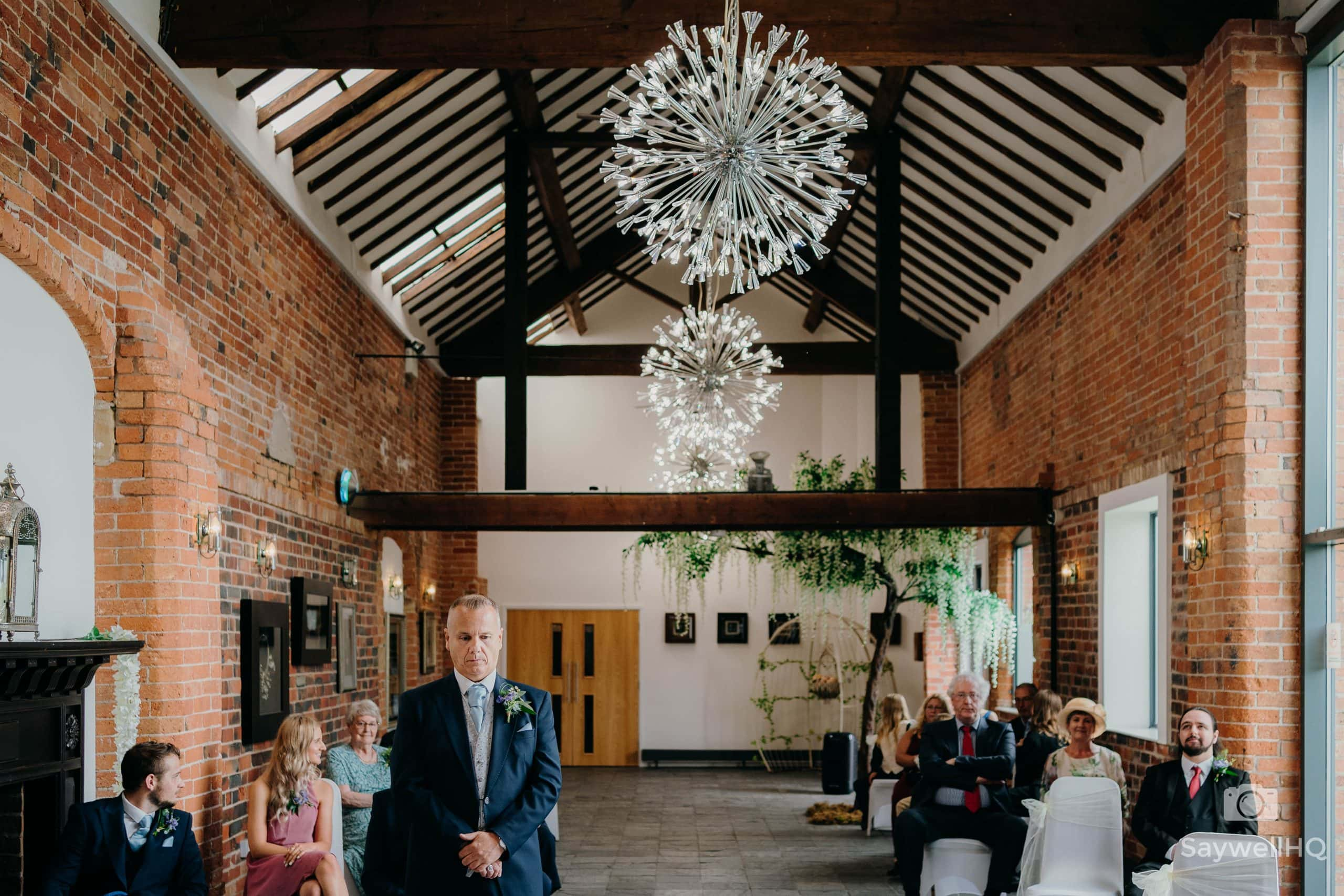 Groom looking nervous at a Covid wedding at Goosedale Nottingham