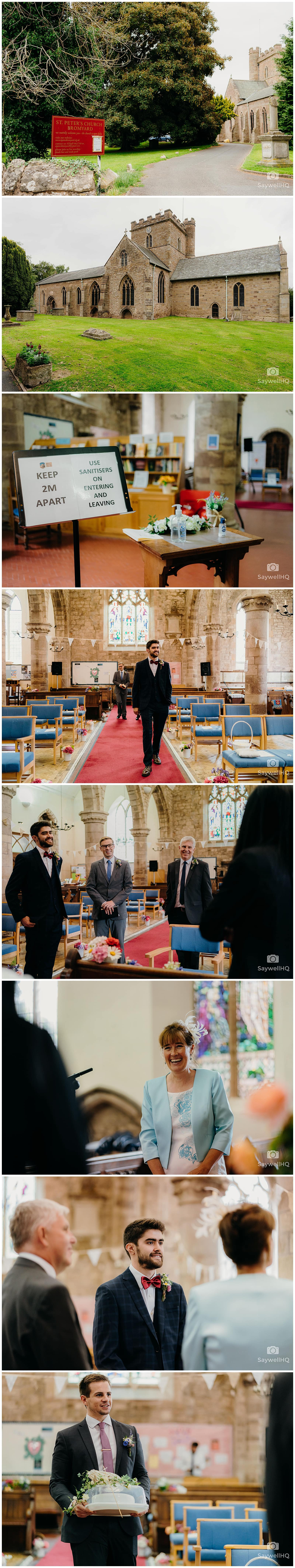 Groom and Wedding guests arrive for the wedding at St Peters Church in Bromyard Herefordshire