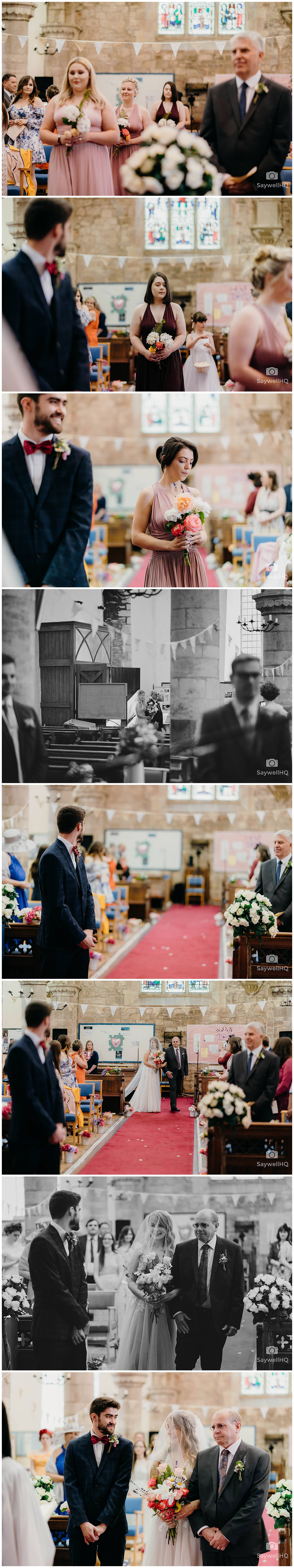 bride and the father of the bride walking down the aisle arm in arm at her wedding at St Peters Church in Bromyard Herefordshire