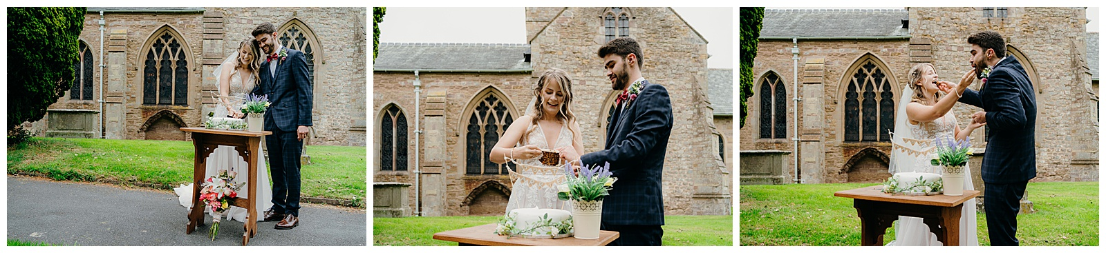 bride and groom cut the wedding cake in the grounds of the church