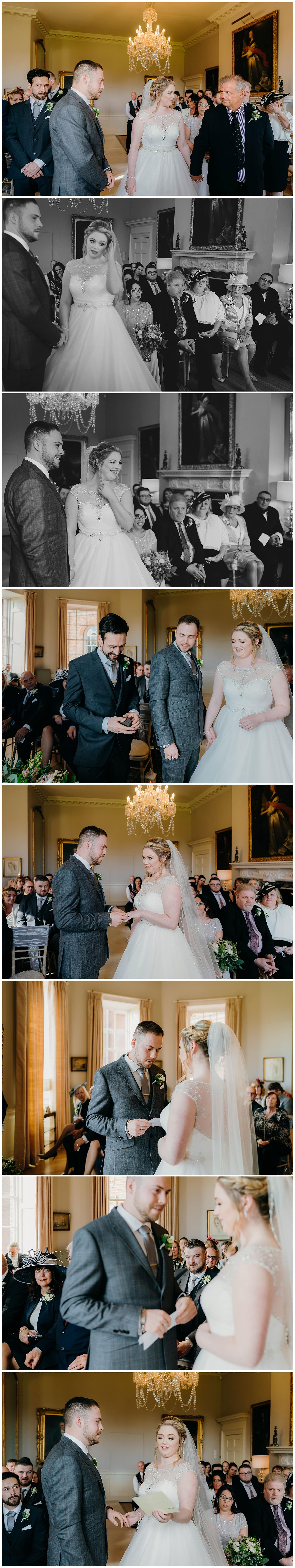 Bride and groom exchange vows at their wedding at Norwood Park
