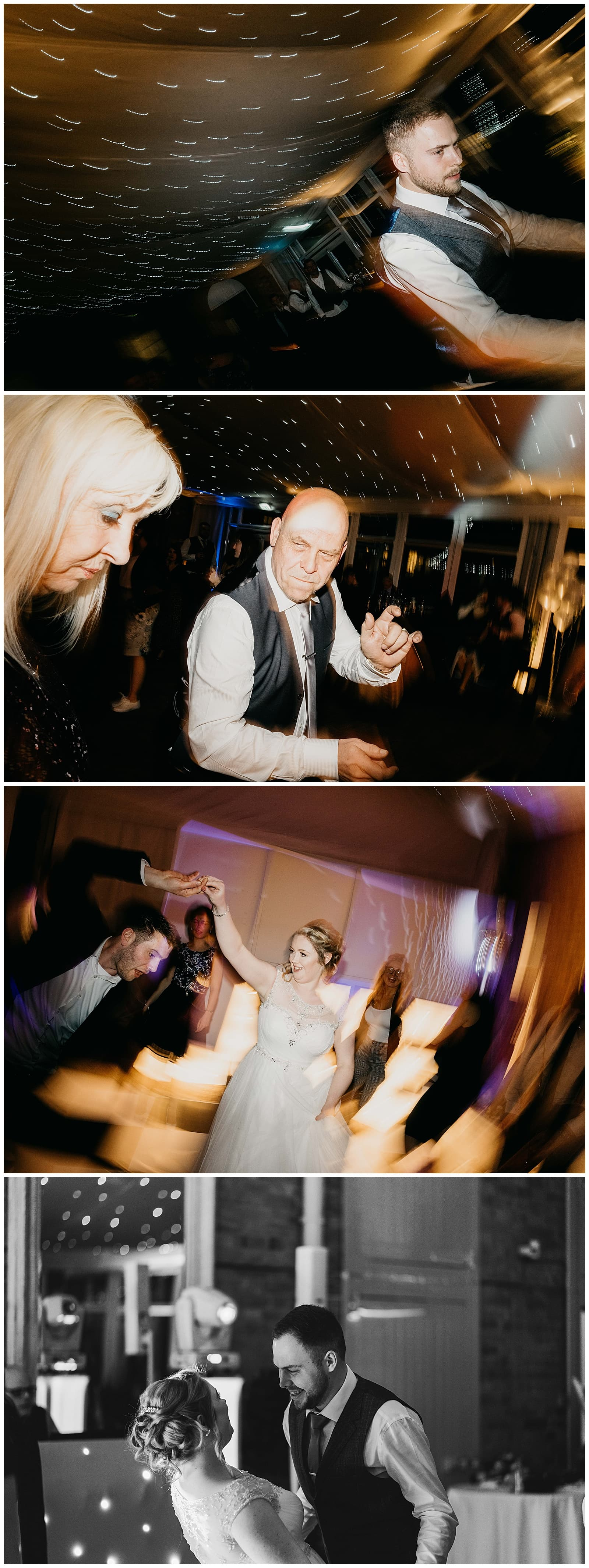 bride and groom join in the dancing on the dance floor at their Norwood Park wedding