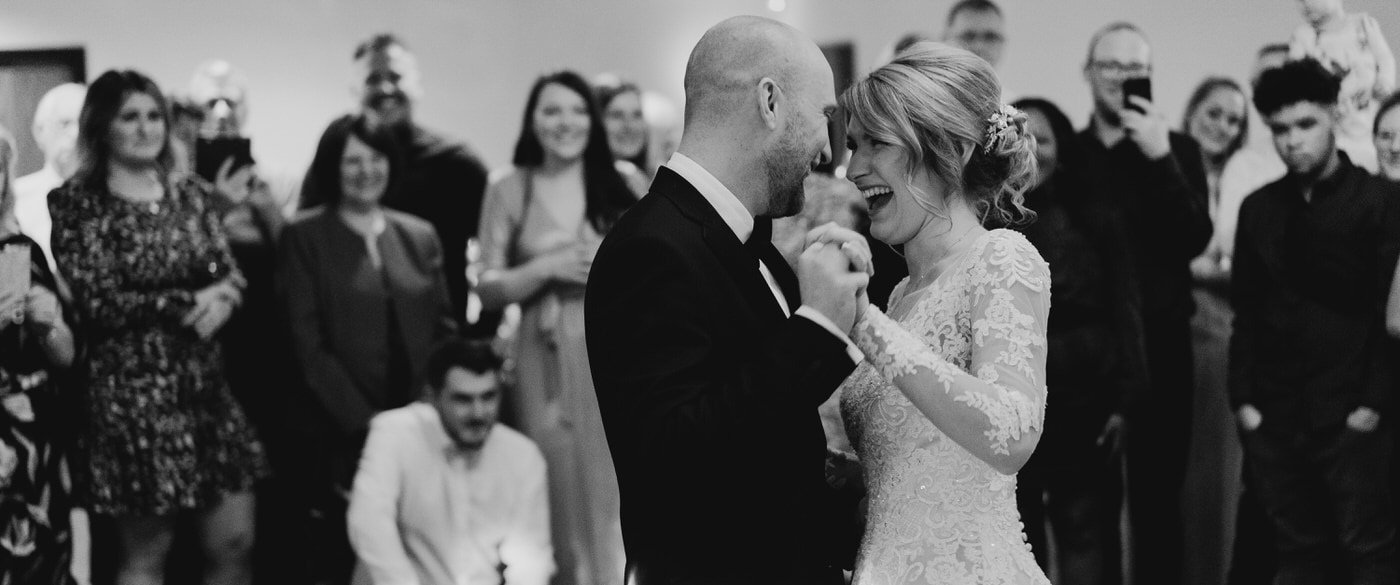 bride and groom first dance at goosedale in nottingham