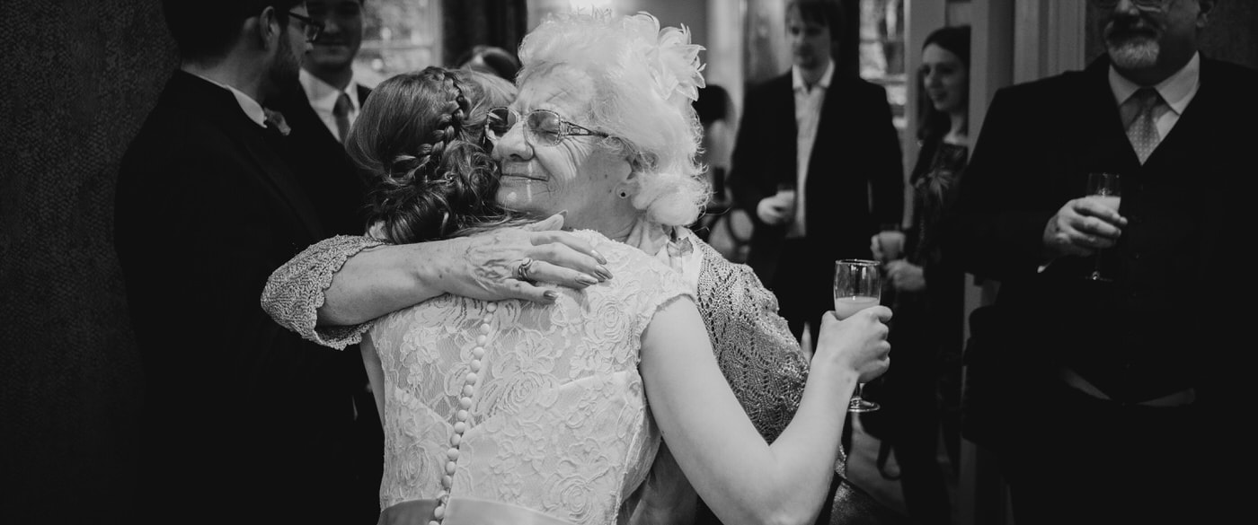 grandma hugging at weddings