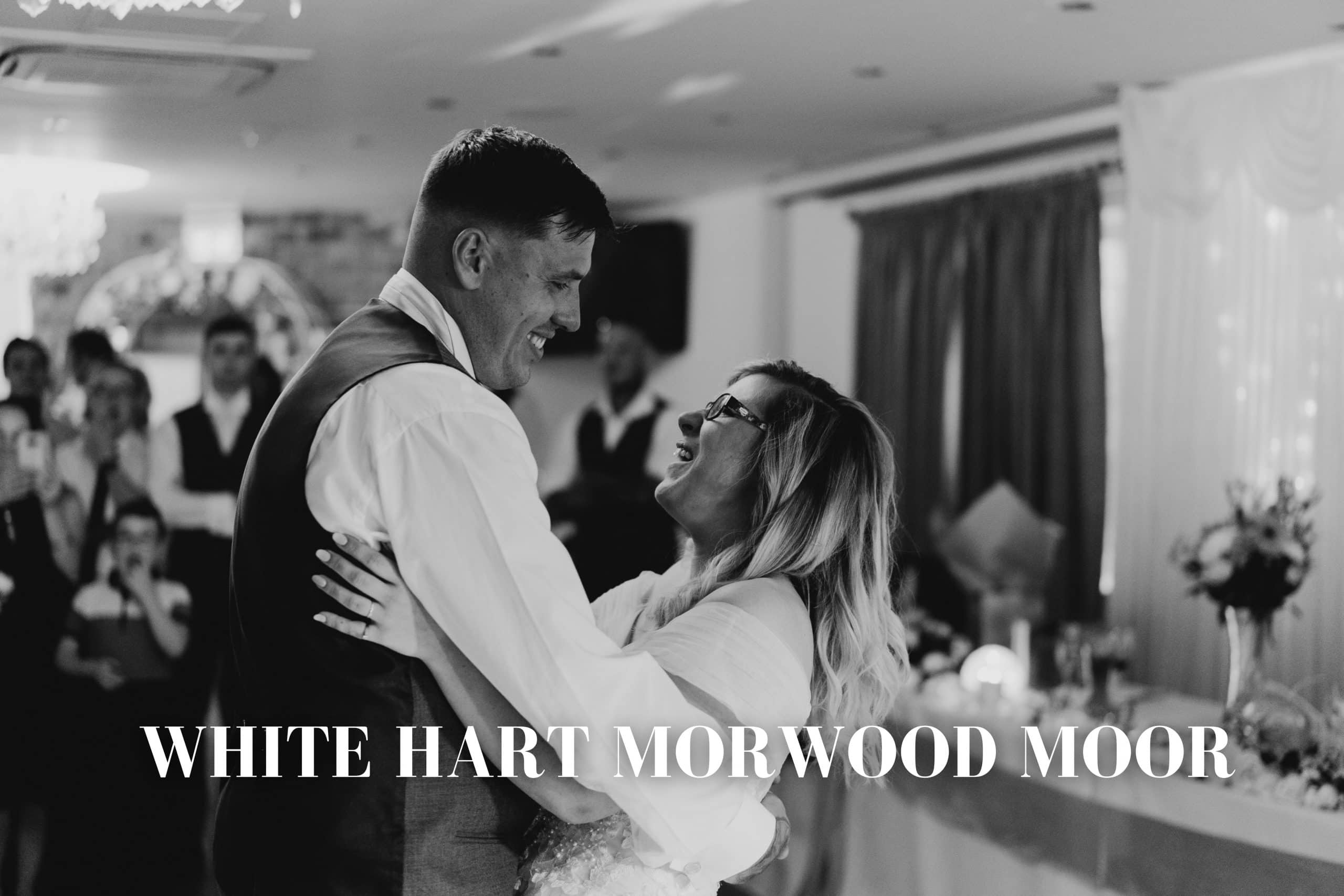 White Hart Inn at Moorwood Moor Wedding Photography - bride and groom first dance during a wedding at the White Hart Inn Alfreton