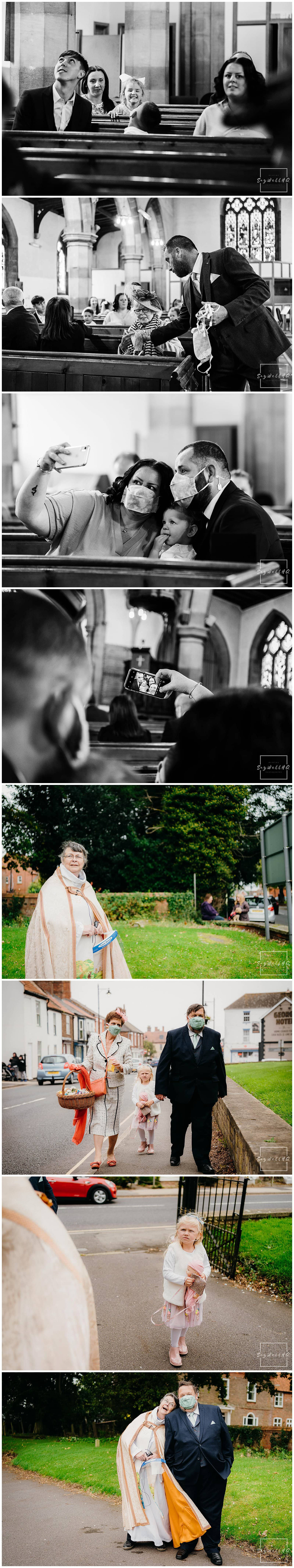 wedding guests arrive for the spilsby church wedding in Lincolnshire - by Wedding Photographer Andy Saywell of SaywellHQ
