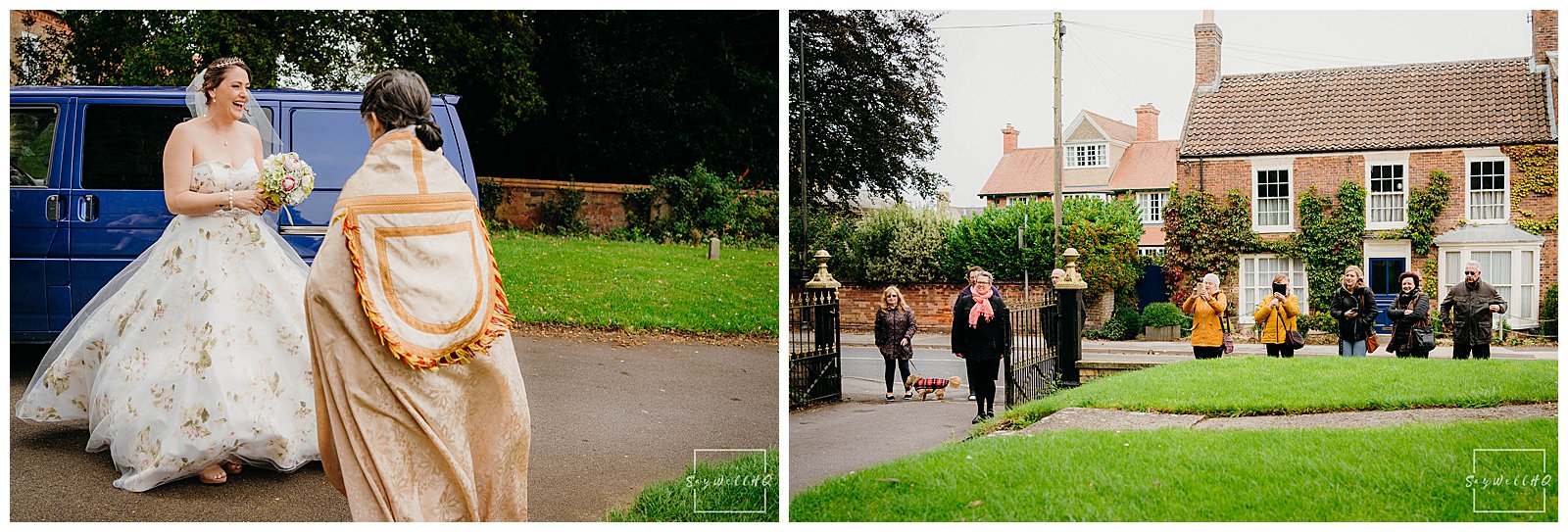 Lincoln wedding photographer - Bride arrives and is greeted by some wedding guests waiting outside the Church