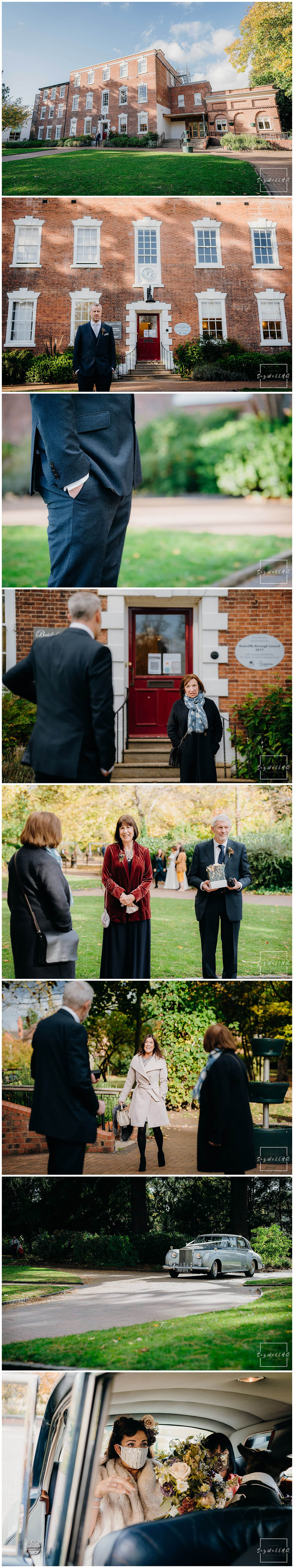 Groom and guests arrived for the small covid restricted wedding at bridgford hall in west bridgford nottingham