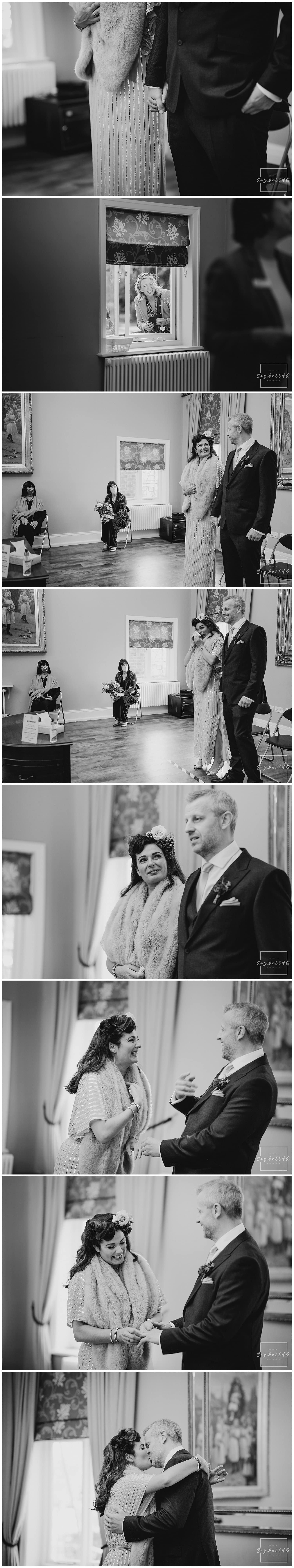 Bride and Groom exchange their vows and rings at their covid restricted wedding at bridgford hall in west bridgford nottingham