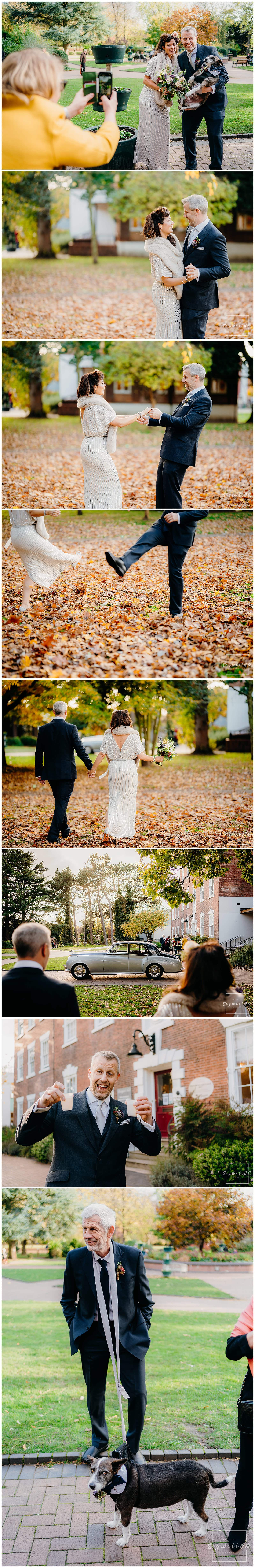 Bride and Groom enjoy the a walk together at their covid restricted wedding at bridgford hall in west bridgford nottingham
