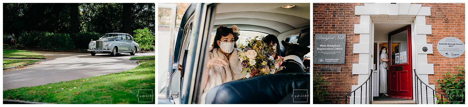 Bride arrives for her Covid restricted wedding at the Bridgford Hall in West Bridgford