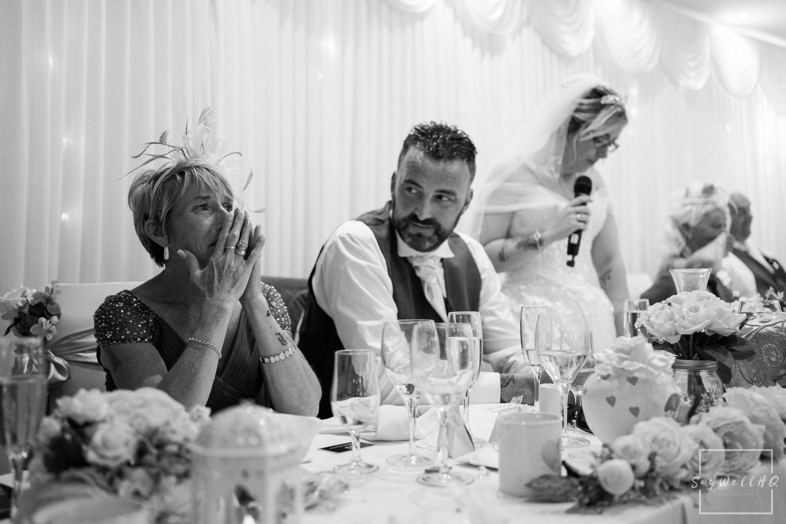 Derby Wedding Photographer - mother of the bride gets emotional during the brides speech at her Derby wedding