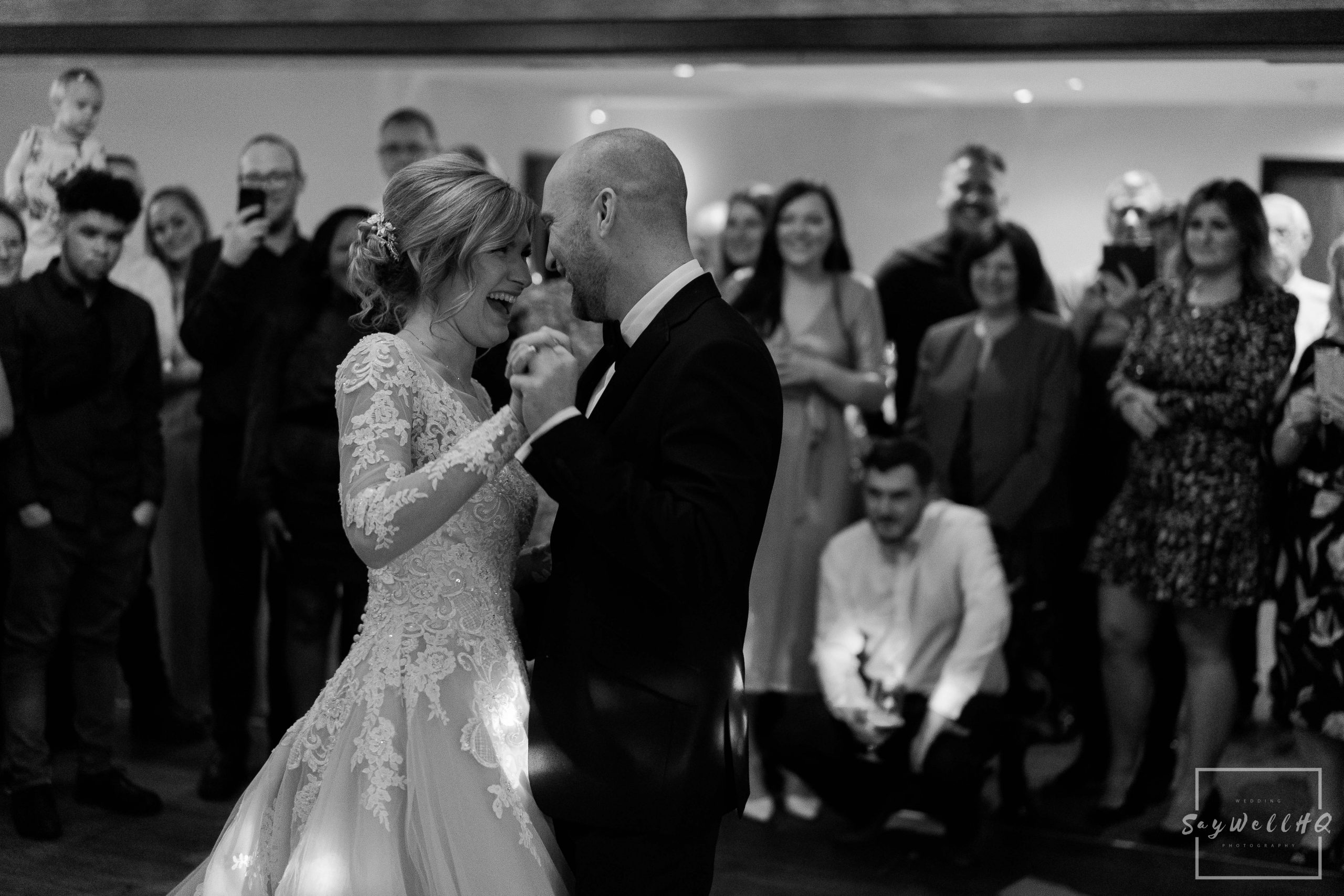 Bride and groom dancing during their first dance at their Goosedale wedding - Wedding Photography by goosedale wedding photographer Andy Saywell of SaywellHQ