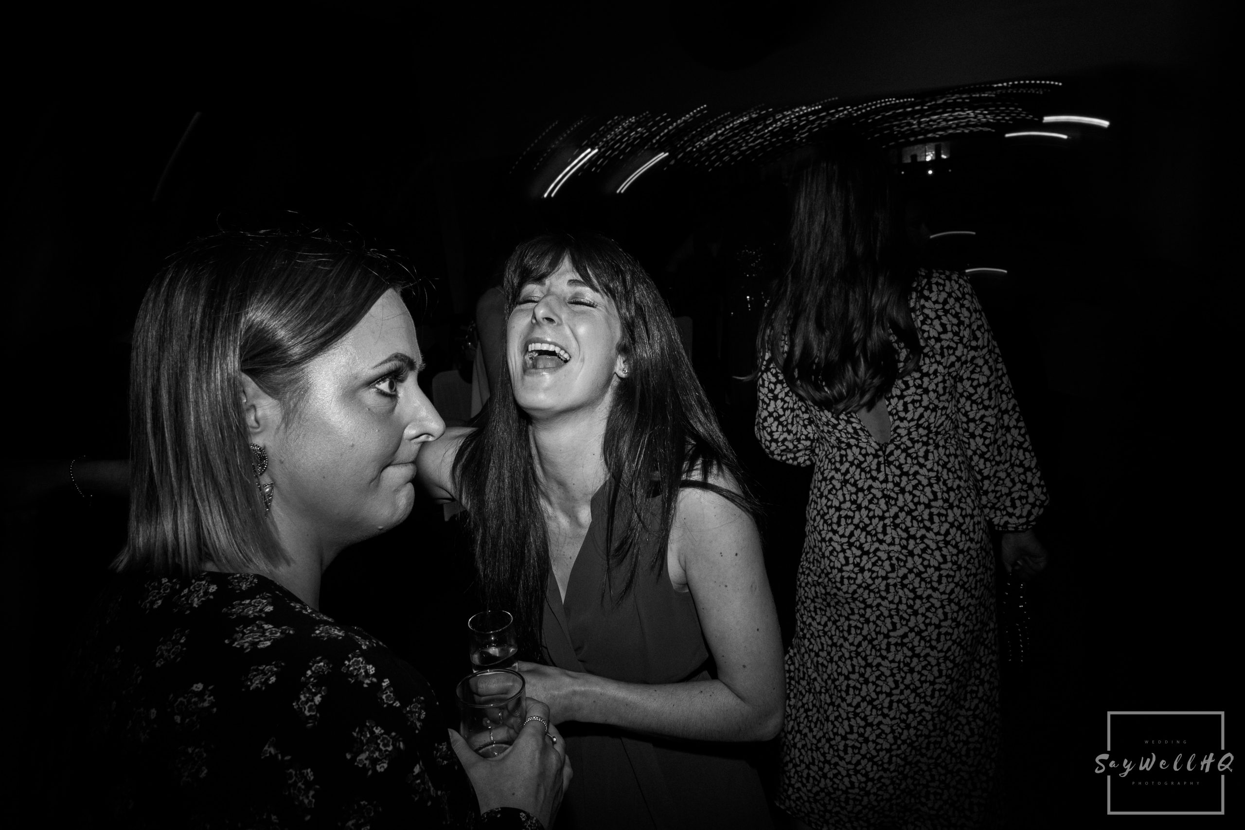 Wedding guests having fun on the dancefloor during the disco at a Goosedale wedding - Wedding Photography by goosedale wedding photographer Andy Saywell of SaywellHQ