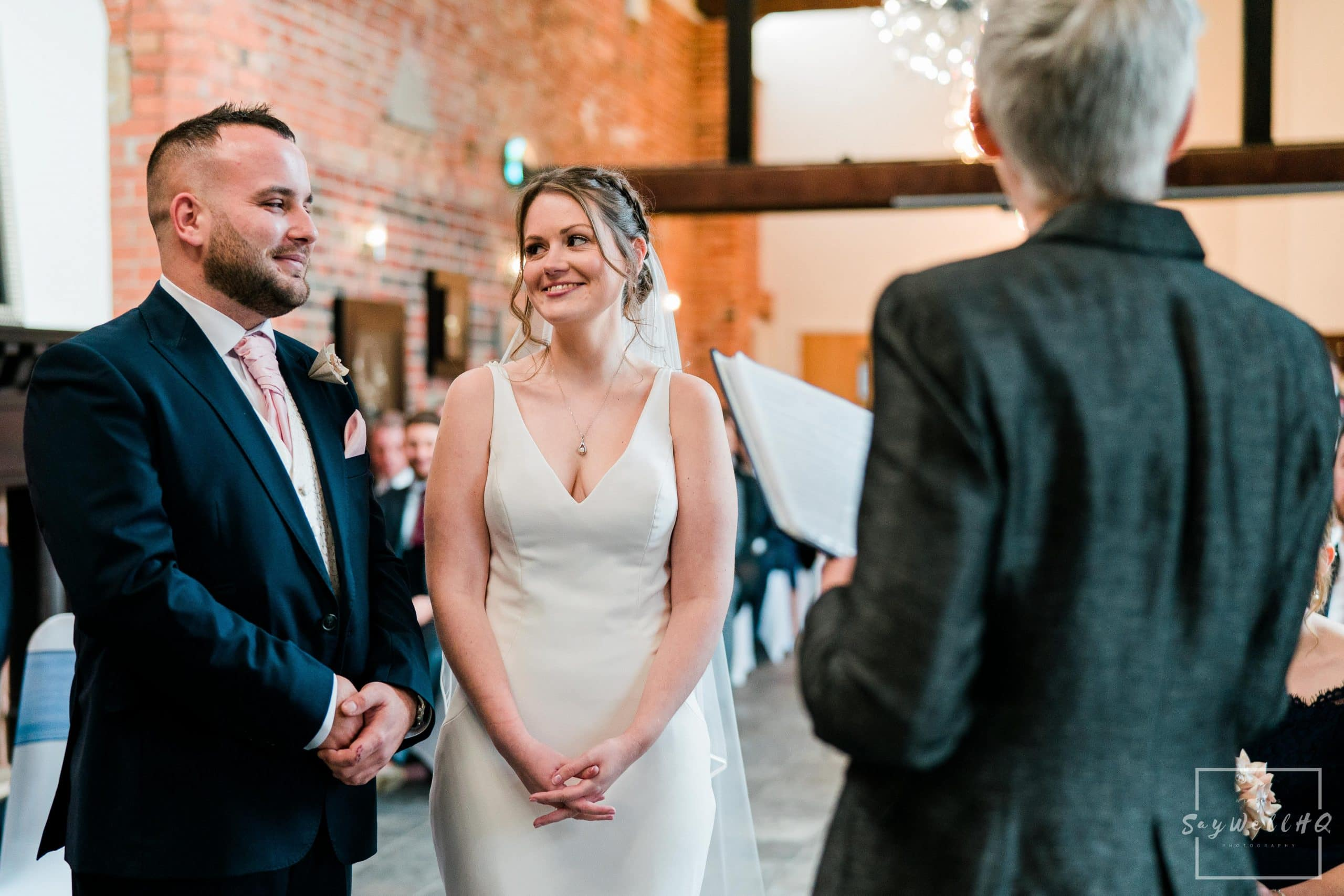 Bride and groom looking at each other during their wedding at Goosedale - Wedding Photography by goosedale wedding photographer Andy Saywell of SaywellHQ