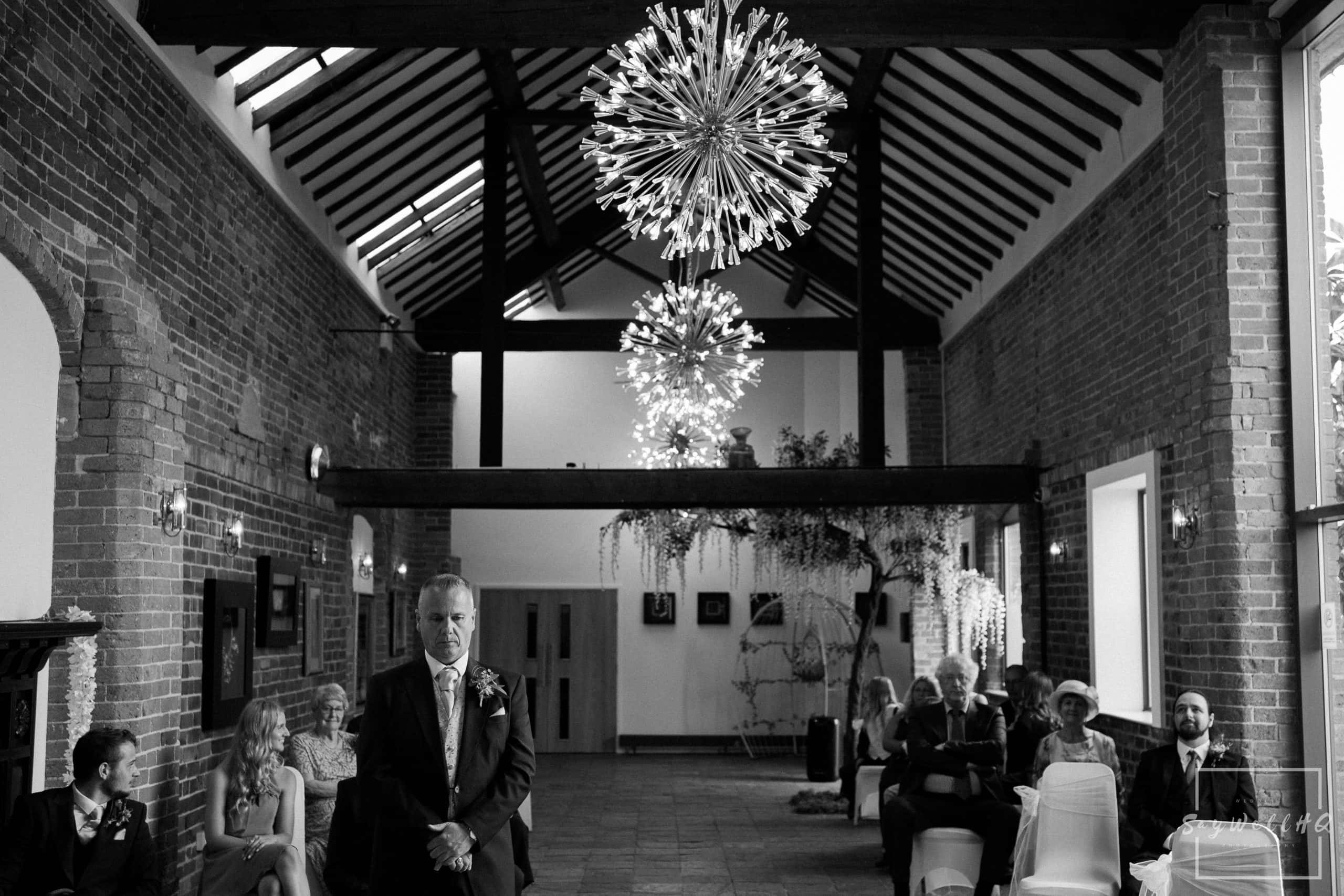 groom looking nervous waiting for his bride and at a Goosedale wedding - Wedding Photography by goosedale wedding photographer Andy Saywell of SaywellHQ