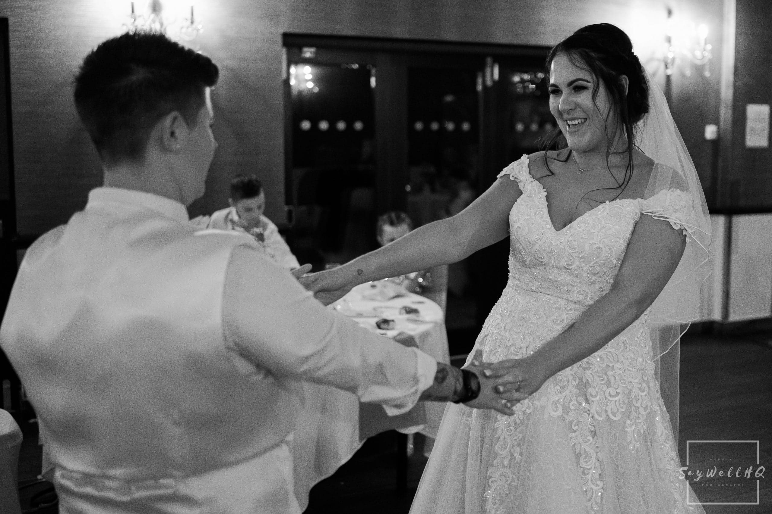 Same sex couple dancing during their first dance at their Goosedale wedding - Wedding Photography by goosedale wedding photographer Andy Saywell of SaywellHQ