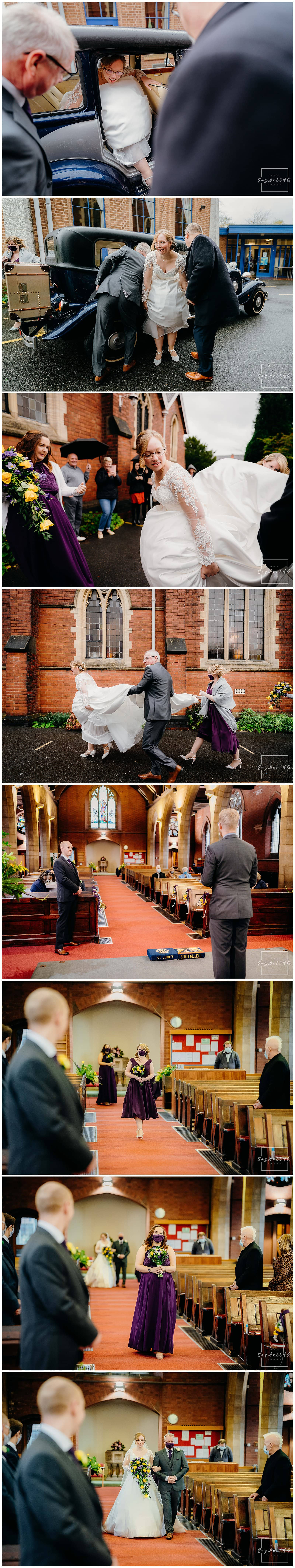 Bride arrives for her micro wedding at St Judes Church in Mapperley Nottingham