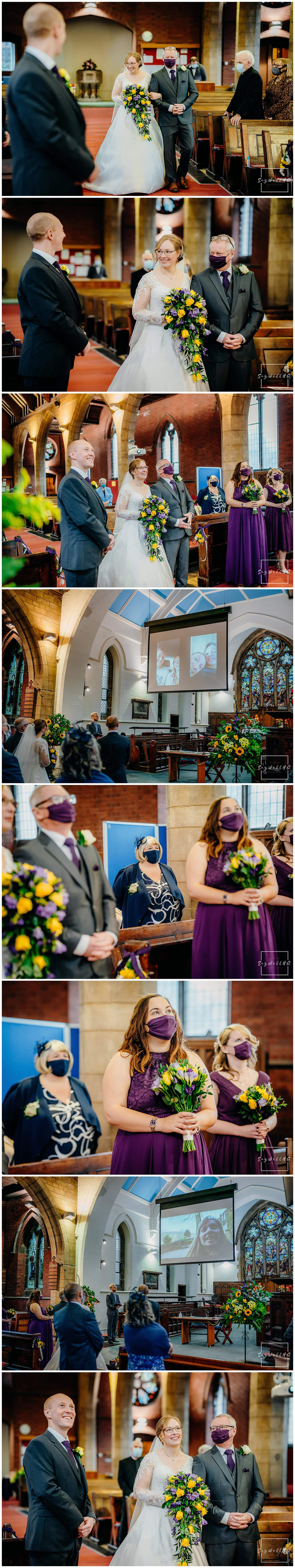 Bride walks down the aisle with her dad at her micro wedding at St Judes Church in Mapperley Nottingham