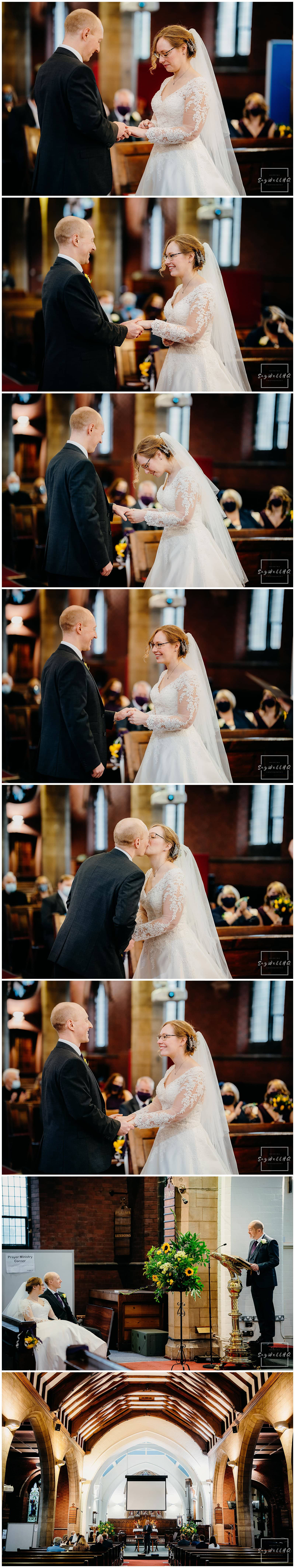 Bride and groom exchange rings during the micro wedding at St Judes Church in Mapperley Nottingham