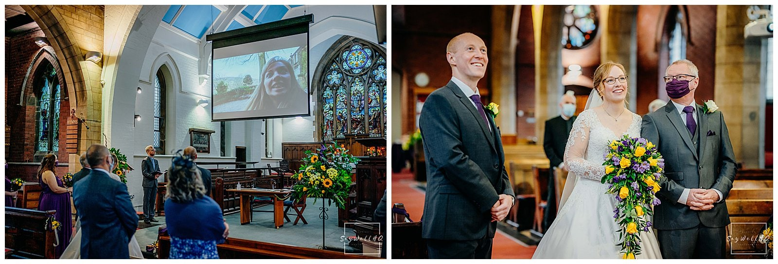Bride and groom looking at old pictures of themselves being projected onto the big screen at their micro wedding at St Judes Church in Mapperley Nottingham