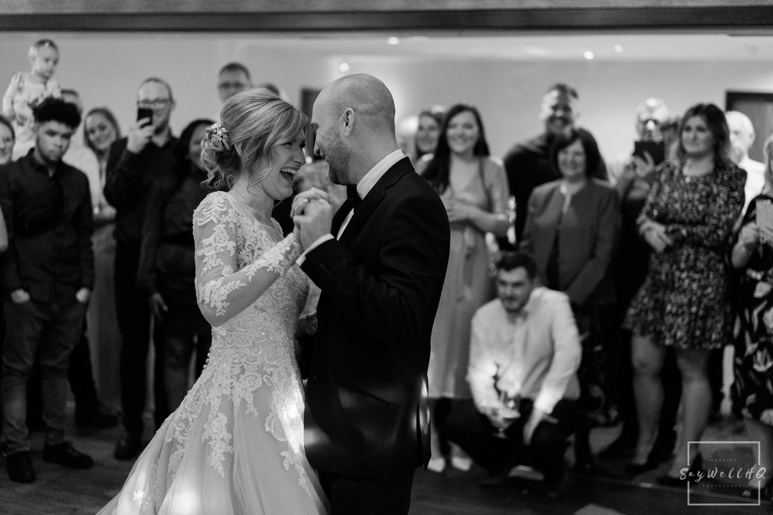 Bride and groom enjoy a first dance at Goosedale surrounded by the family and friends a few weeks before the start of the covid 19 lockdown
