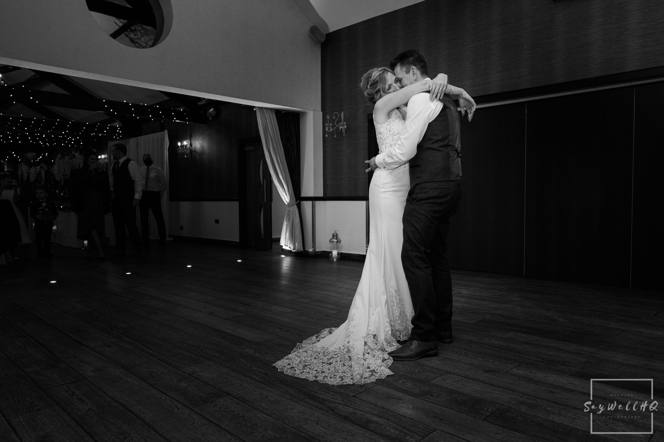 Bride and groom enjoy their first dance during the covid 19 lockdown