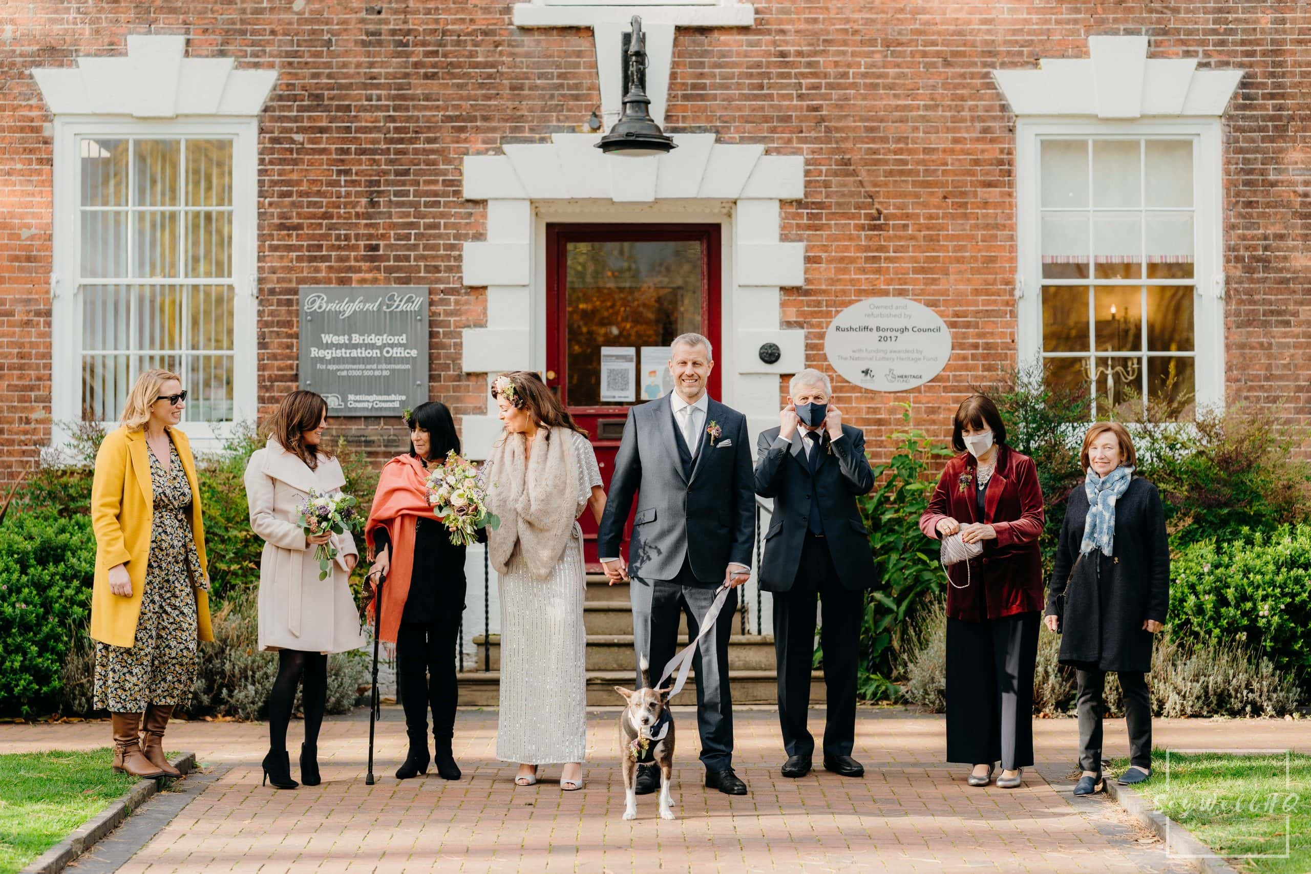 Family formal group shot at West Bridgford Hall a few days before the start of the second national lockdown