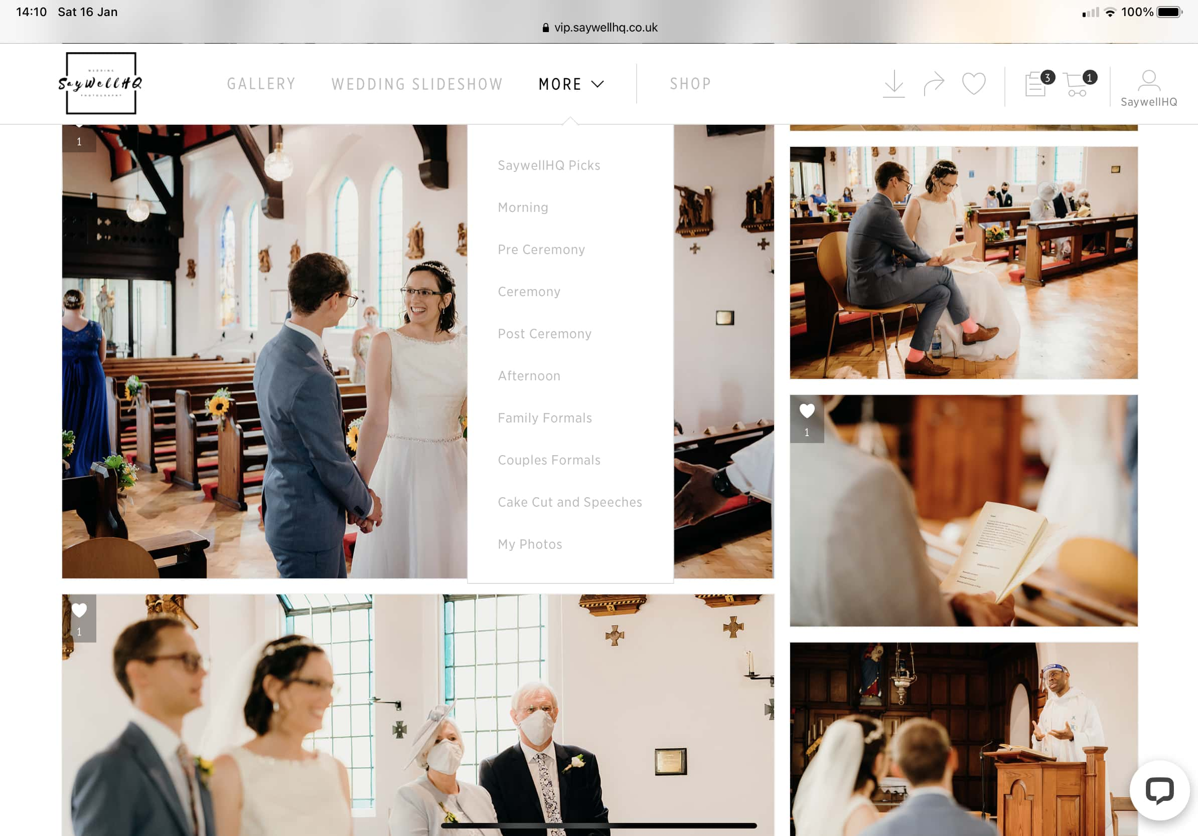 Nottingham wedding photographer - menu options in your wedding galleries