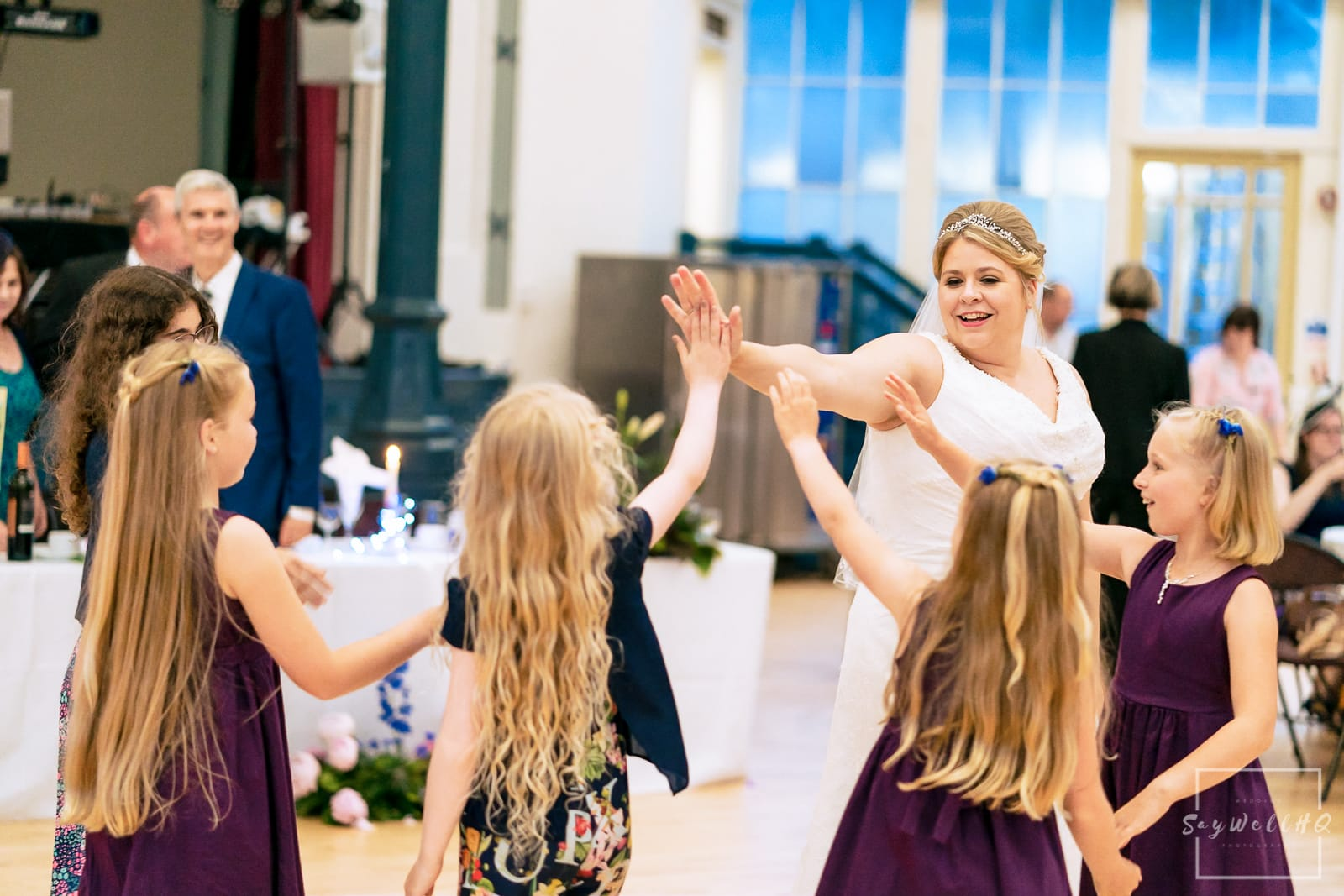 Bride dancing with guests at a Buxton wedding