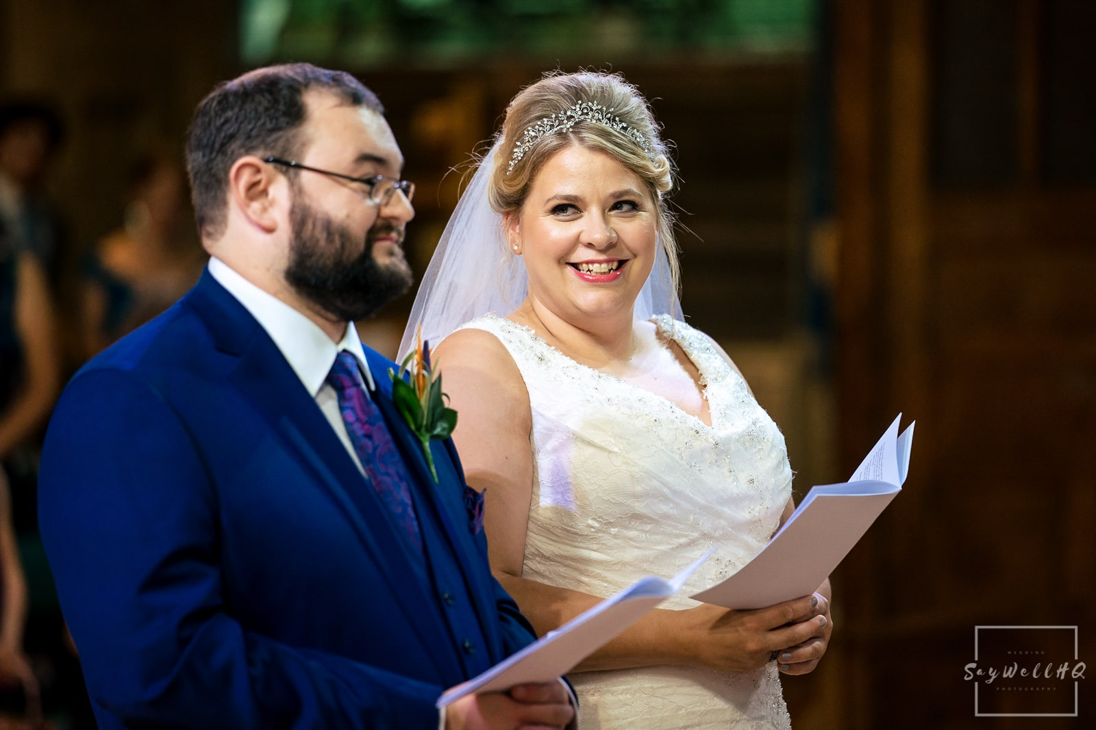 Buxton wedding photographer - Buxton Wedding Photography - Bride looking at her Groom during the Church wedding ceremony