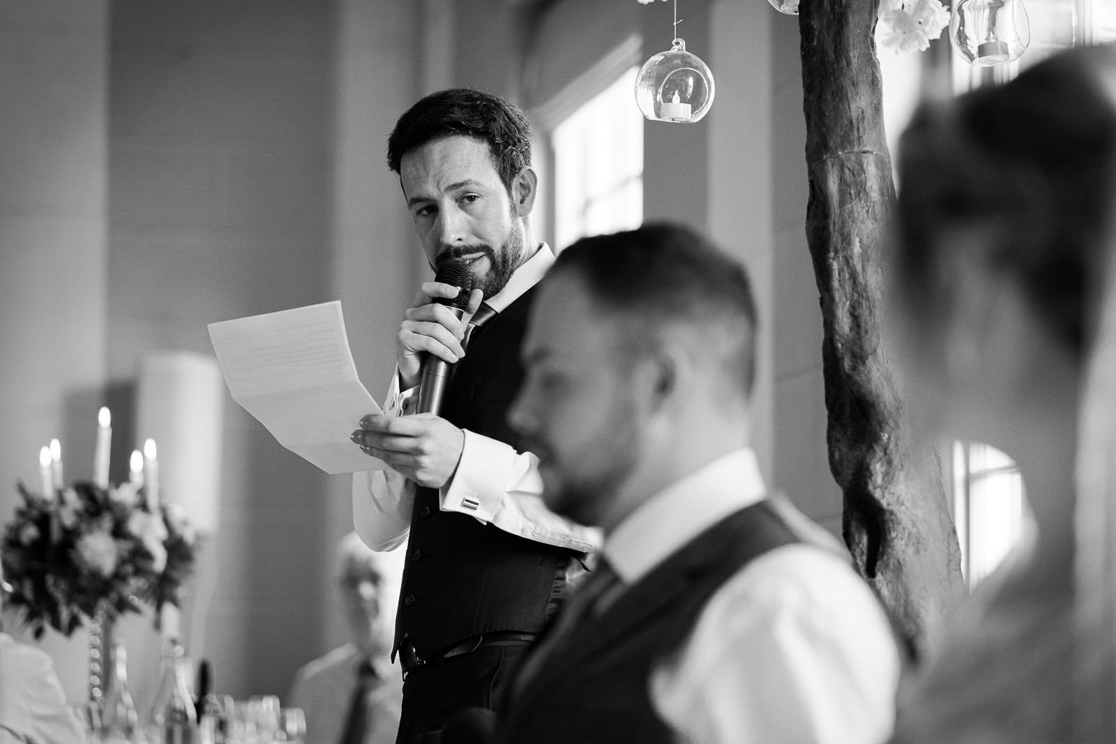 Wedding Photography at Norwood Park - best man and groom speeches at Norwood Park