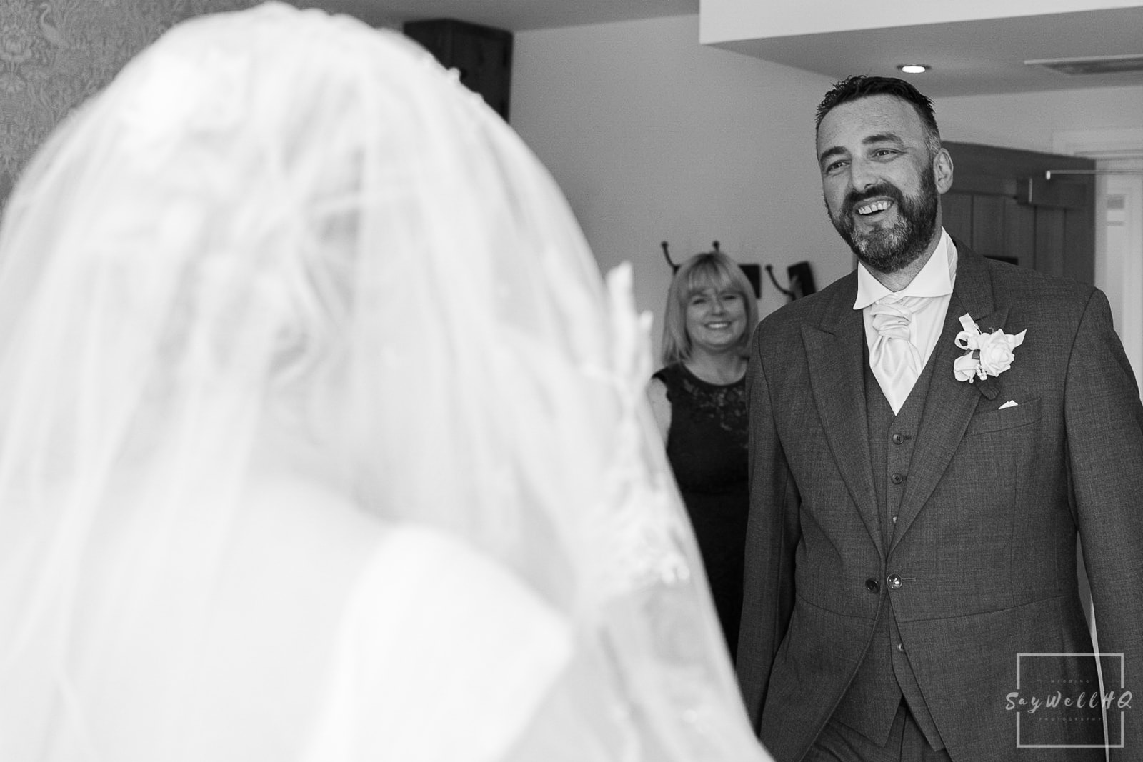 White Hart Inn Wedding Photography - Bride and her father see each other for the first time on the wedding day