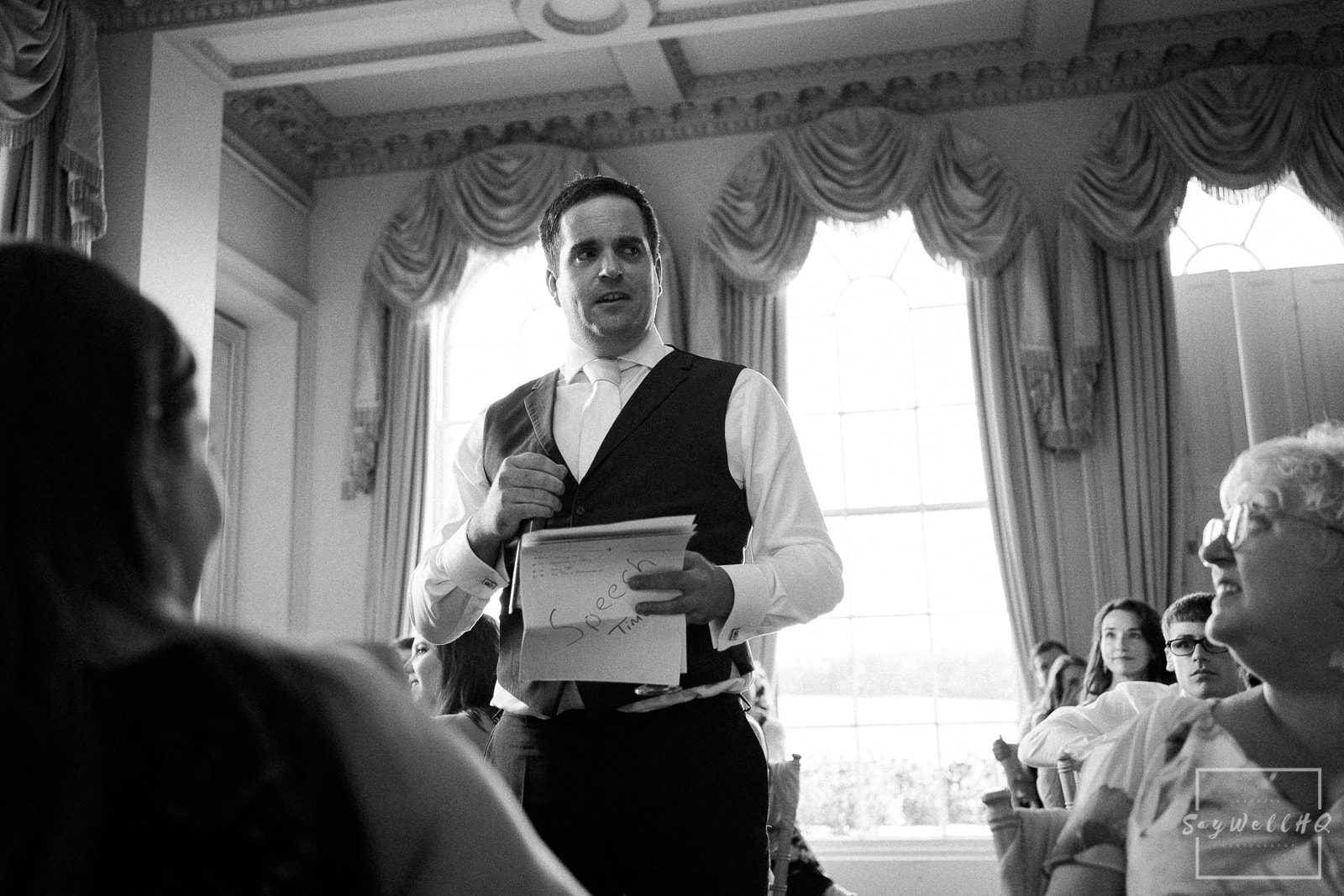 Prestwold Hall Wedding Photography - wedding speeches in the main room at Prestwold Hall