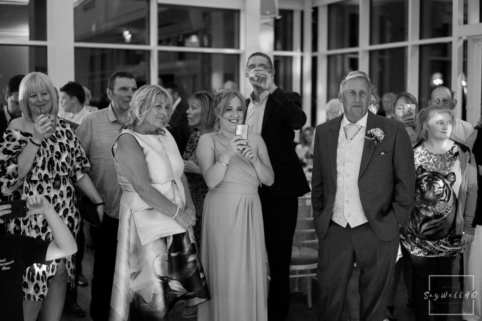 Winstanley House Wedding Photography - wedding guests enjoy the bride and groom first dance
