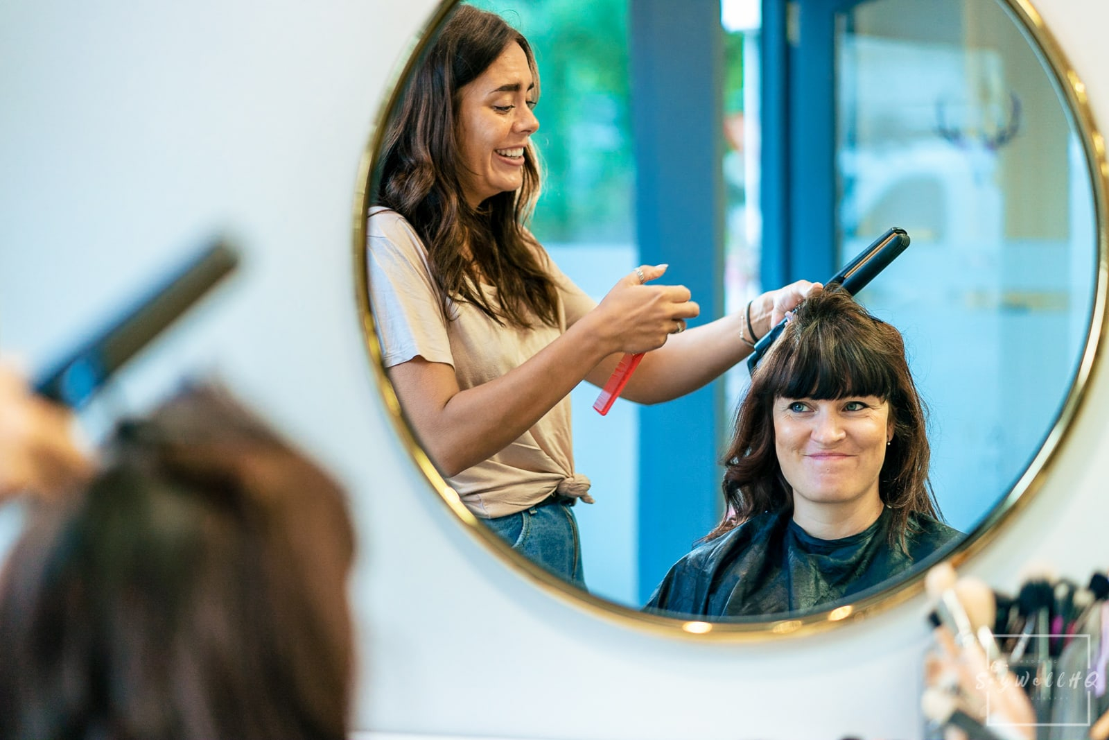 Buxton Wedding Photography - Bride and Bridemaids getting ready at a local hairdressers before the Buxton Church Wedding
