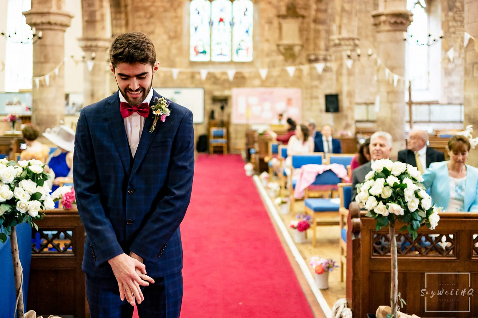 Hereford Church Wedding Photography - Groom looking very nervous before his wedding at a Hereford church wedding