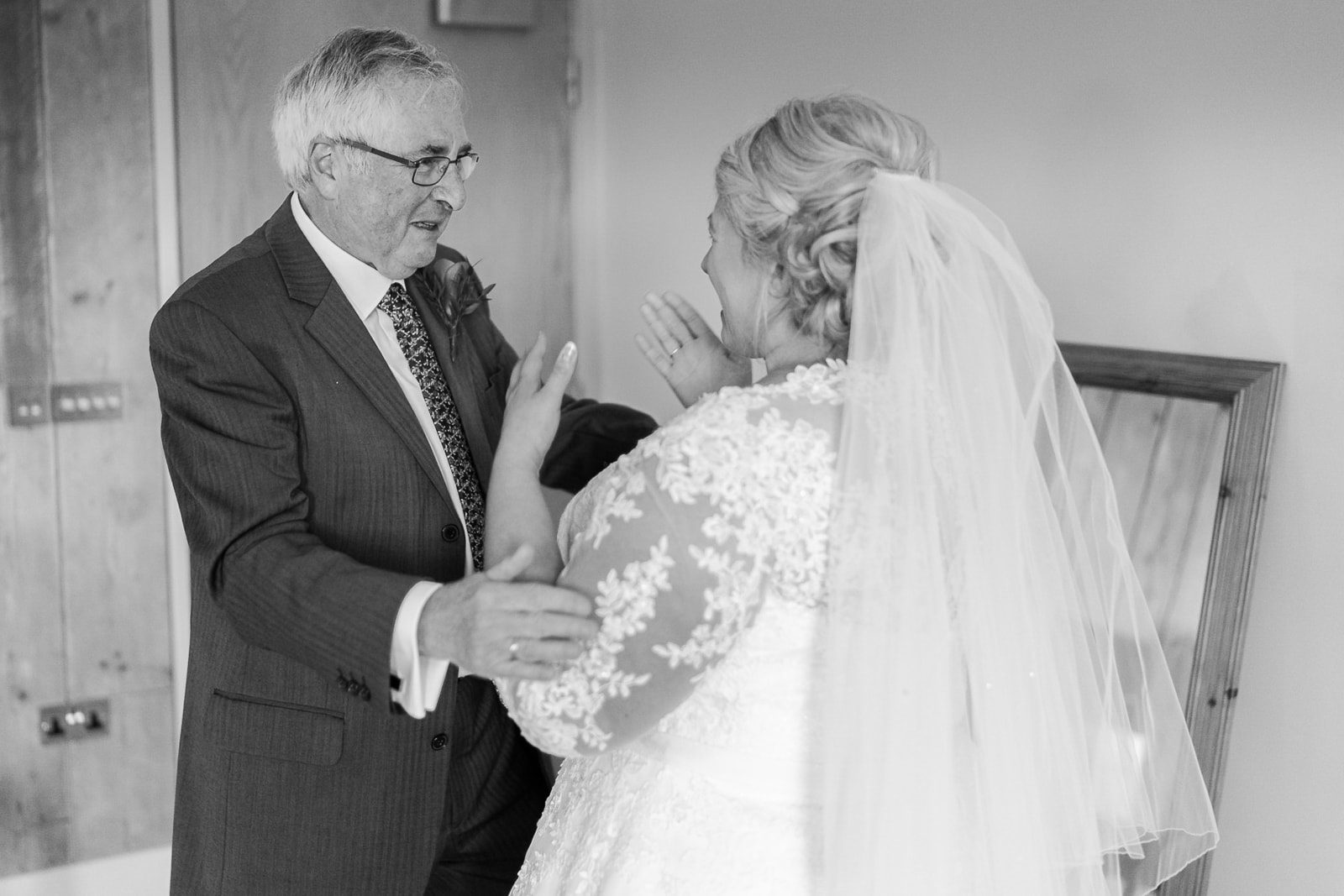The Carriage Hall Wedding Photography - Bride seeing her dad for the first time on her wedding day