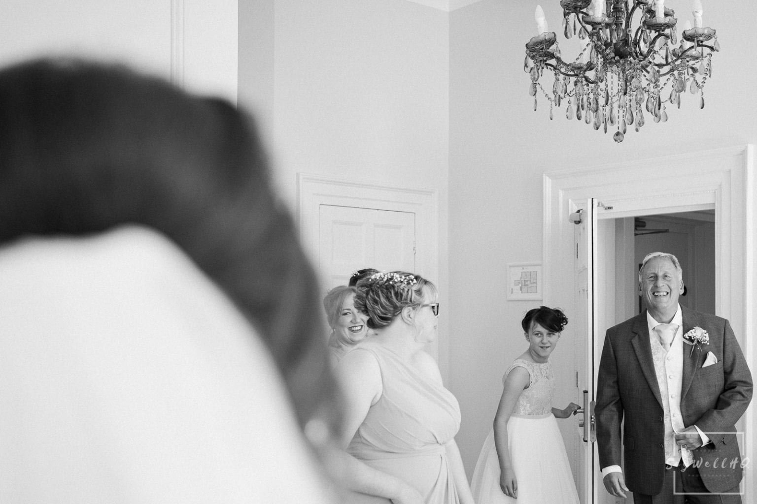 Winstanley House Wedding Photography - Bride sees her Dad on the morning of her wedding for the first time