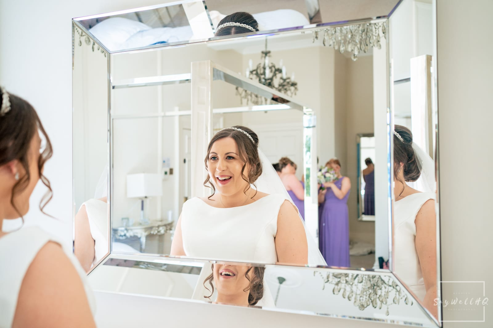 Winstanley House Wedding Photography - Bride and bridesmaids getting ready for the summer outdoor wedding