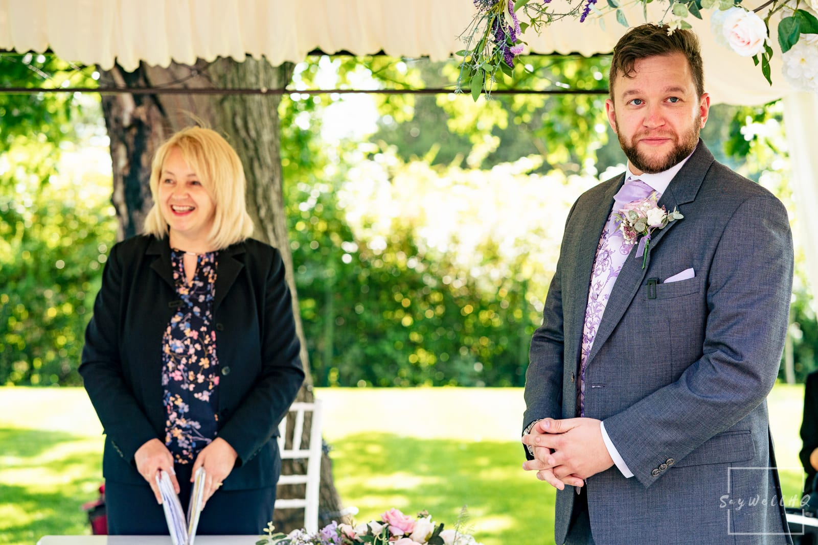 Leicester Wedding Photography at Winstanley House - Groom waits for his Bride to walk down the aisle