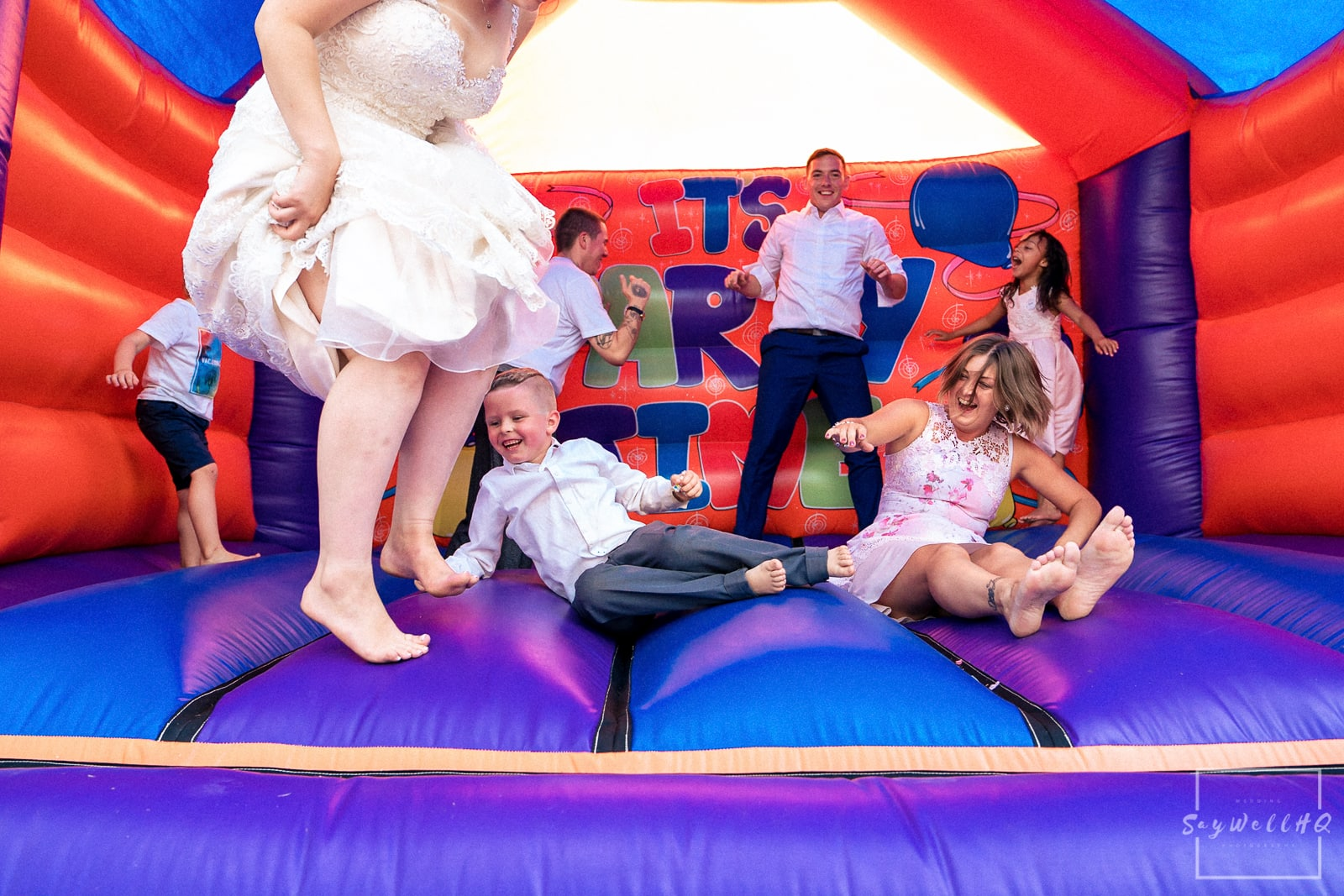 Swancar Farm Wedding Photography - Wedding bouncy castle at the wedding at Swancar Farm