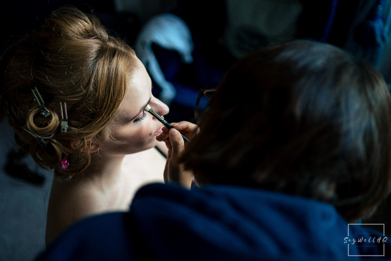 Prestwold Hall Wedding Photography - Bride and Bridesmaids getting ready for the summer outdoor wedding at Prestwold Hall
