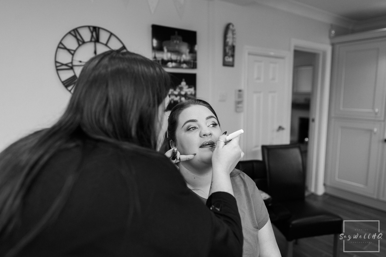 The Embankment Pub Nottingham Wedding Photography + Bride having her make-up done before the wedding