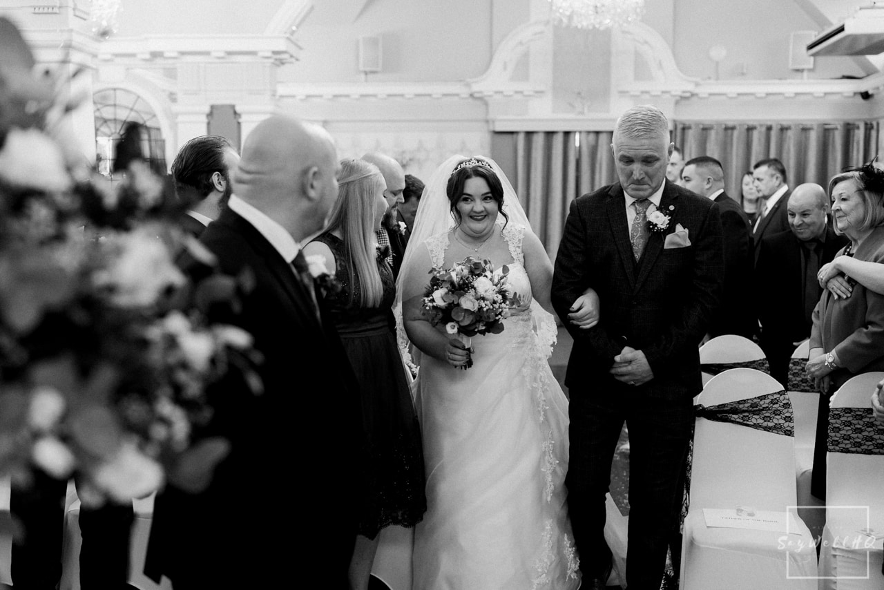 The Embankment Pub Nottingham Wedding Photography + Bride and her dad walking down the aisle